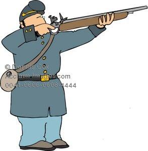 294x300 Clipart Illustration American Civil War Era Soldier Shooting Rifle