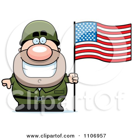 450x470 Clipart Male Army Soldier With An American Flag