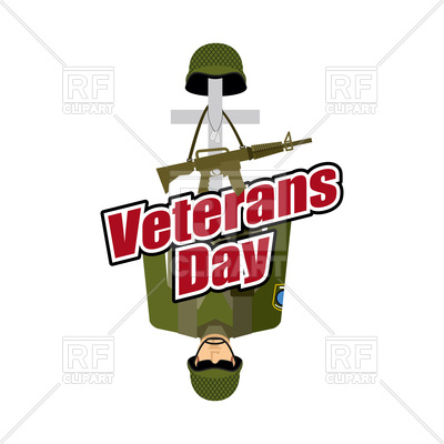 400x400 Veterans Day. Us Army Soldier And War Heros Grave. Royalty Free