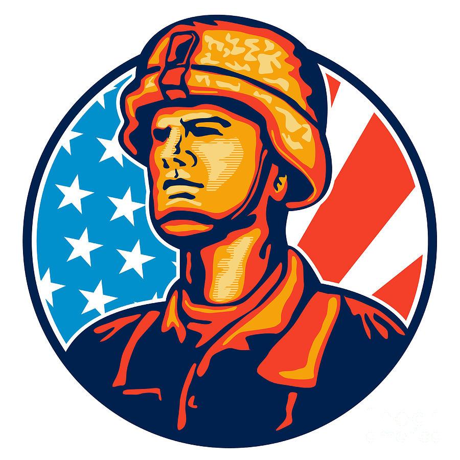 900x900 American Serviceman Soldier Flag Retro Digital Art By Aloysius