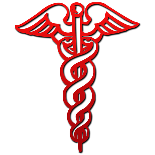 512x512 Red Caduceus Medical Symbol Clipart Image