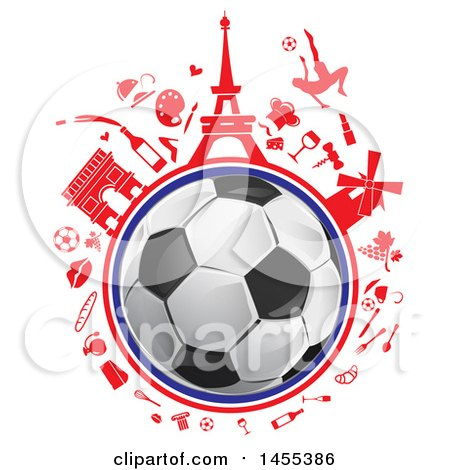 450x470 Clipart Of A Soccer Ball Globe With Red French Icons