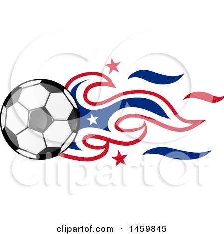 450x470 Clipart Of A Soccer Ball With American Flag Flames