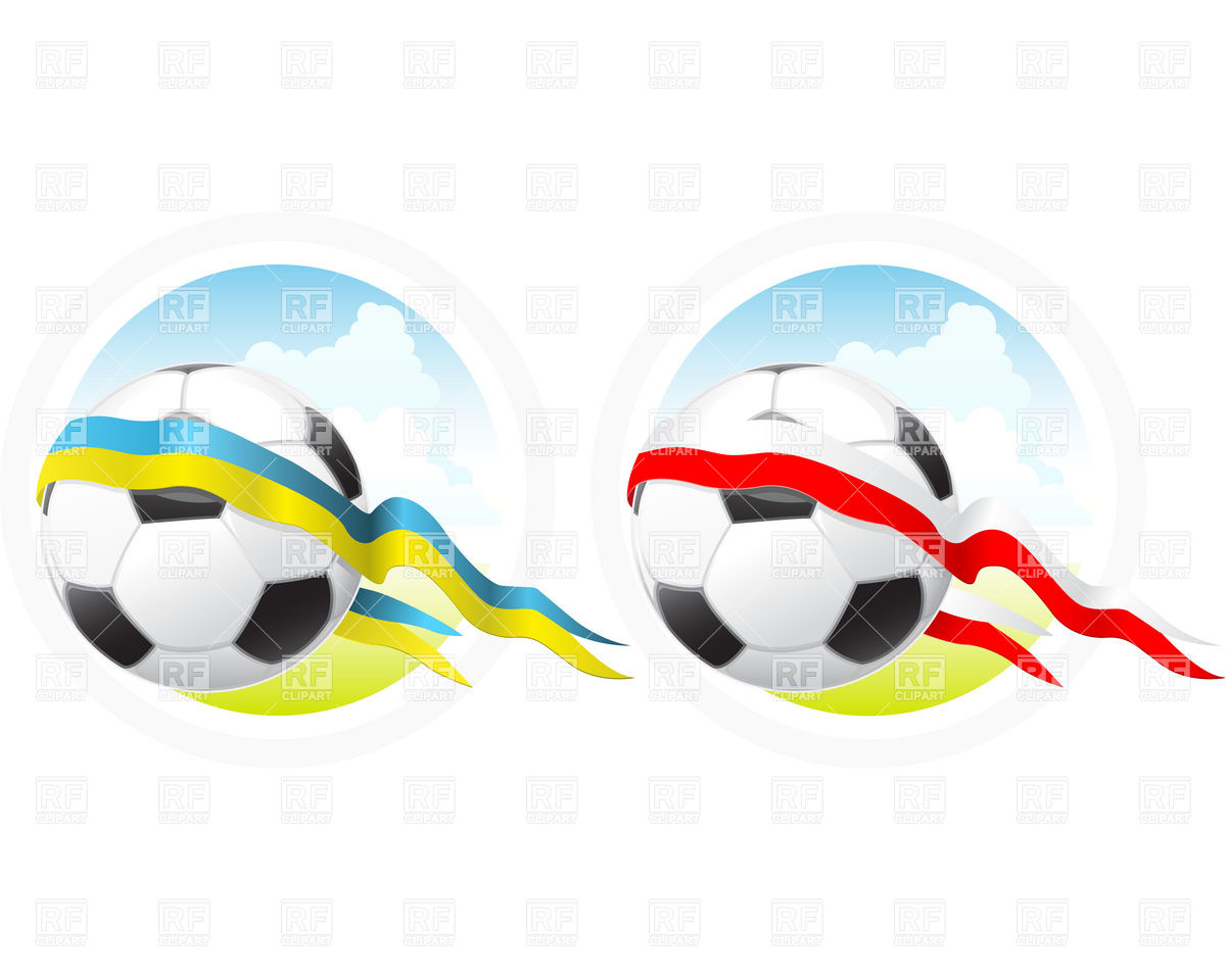 1200x960 Euro Soccer Emblem With Ball And Ribbon Royalty Free Vector Clip
