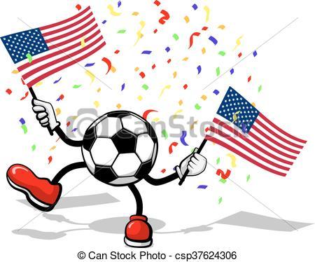 450x374 Soccer Usa Celebration. A Soccer Ball With Armsd Legs Waving