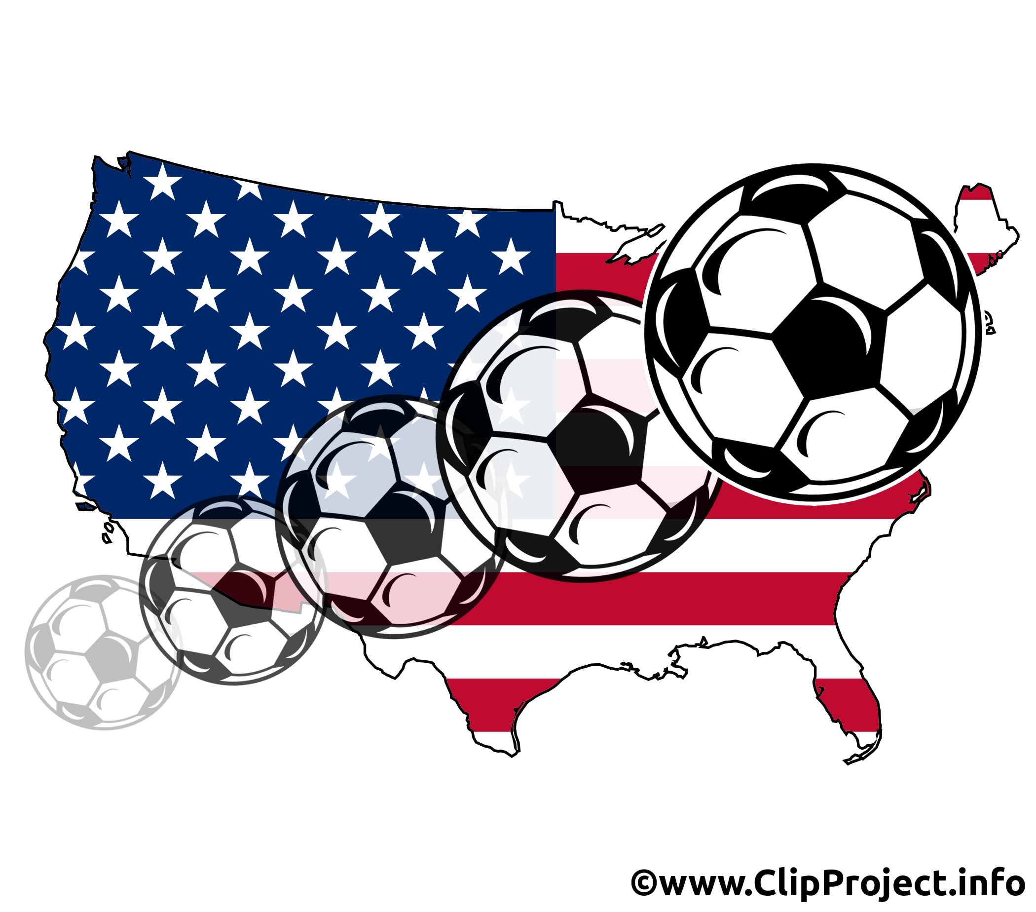 2100x1848 Usa Map With Flying Soccer Balls Image