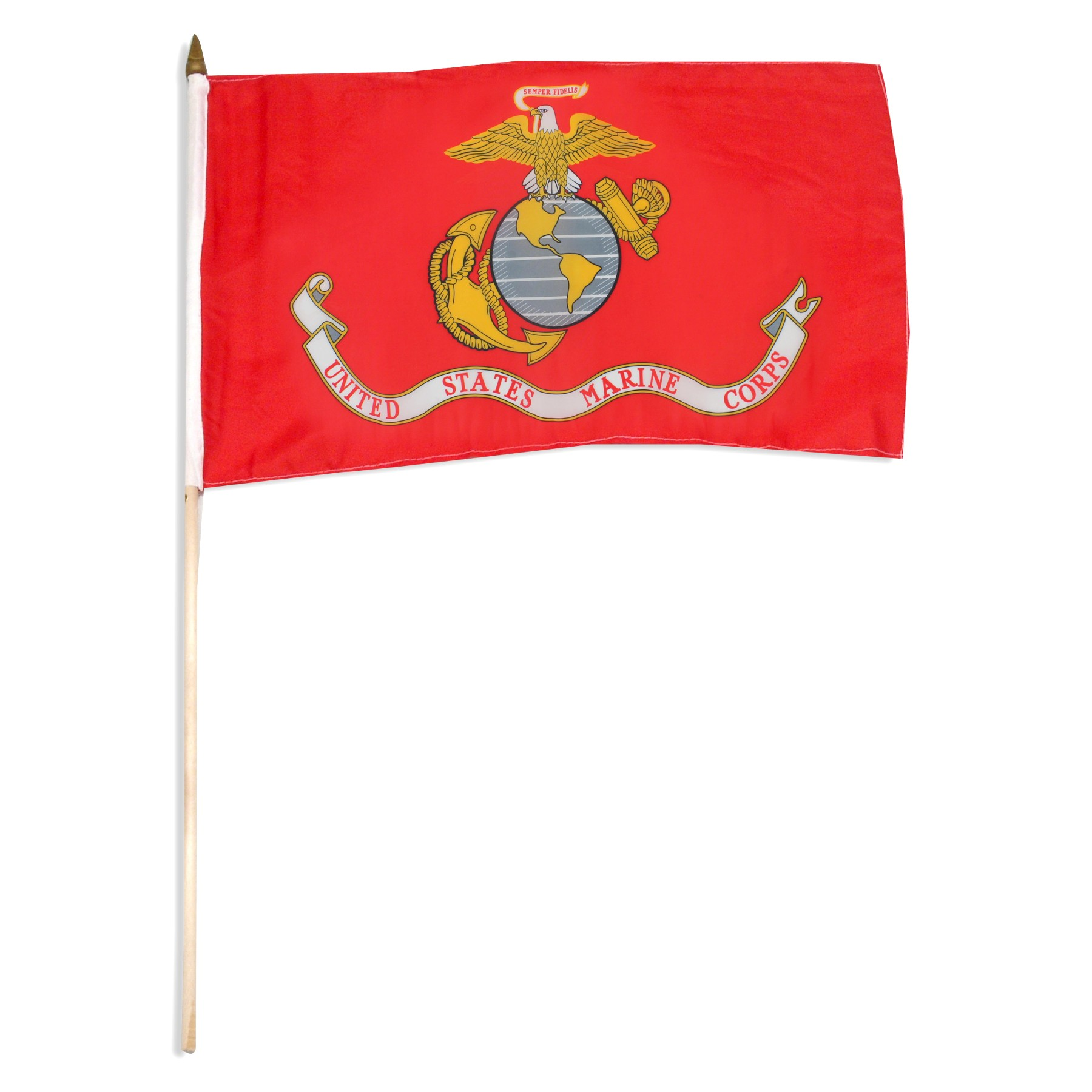 1800x1800 Marine Corps Flag 12in X 18in Mounted On 24in Wooden Stick