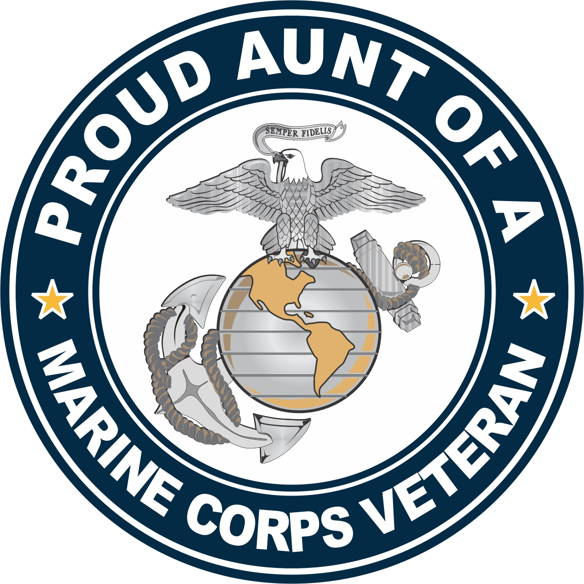 1162x1162 U.s. Marine Corps Veteran Proud Aunt Decal