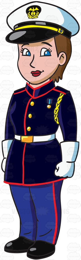 320x1024 A Female Marines Officer Dressed In A Blue White Dress Uniform