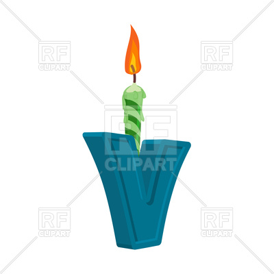 400x400 Letter V With Candle For Birthday Cake Royalty Free Vector Clip