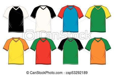 450x297 T Shirt Template V Neck, Raglan Sleeve, Vector Image Design Vector