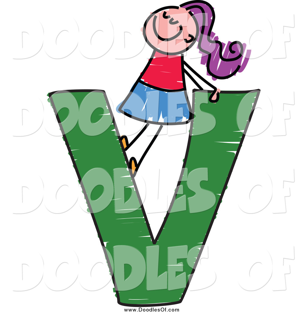 1024x1044 Vector Clipart Of A Doodled Purple Haired White Girl In A Capital