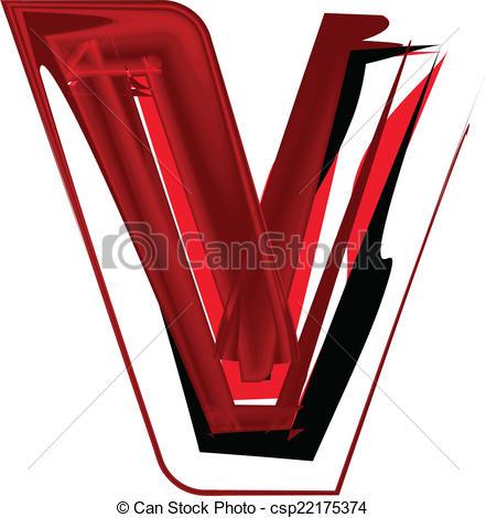 441x470 Artistic Font Letter V Vectors Illustration