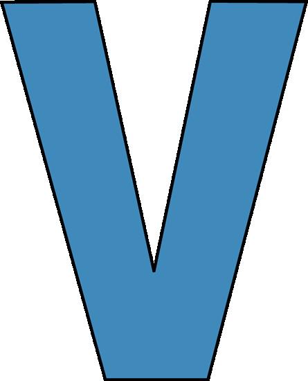 445x550 Blue Alphabet Letter V Clip Art