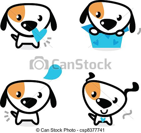 450x423 Cute Blue Valentine Dogs Set Isolated On White. Cute Dog Vector