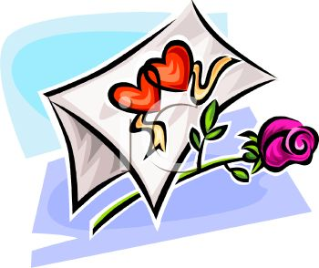 350x294 Royalty Free Clip Art Image A Rose With A Valentine Card