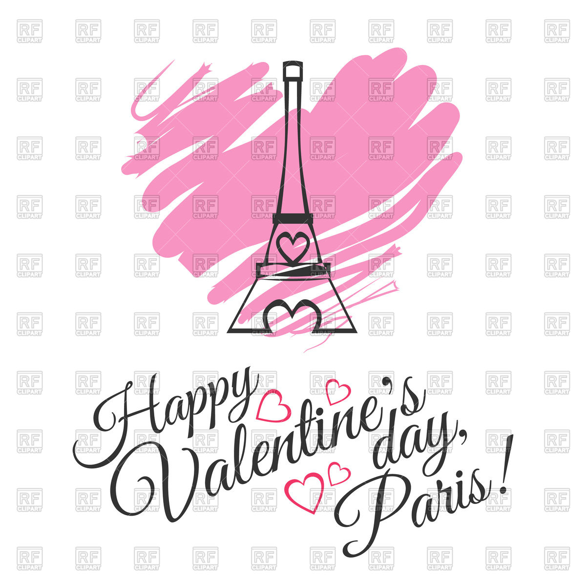 1200x1200 Valentines Day Greeting Card With Eiffel Tower Royalty Free Vector