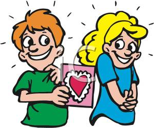 300x250 Clip Art Image A Smiling Boy Giving A Valentine Card To A Shy Girl