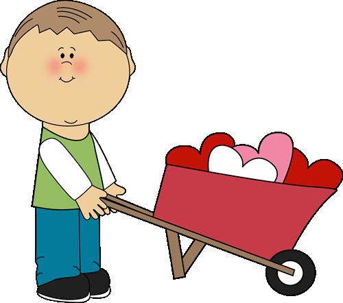 500x442 Valentine#39s Day Clip Art Free Boy Pushing Wheelbarrow of Hearts