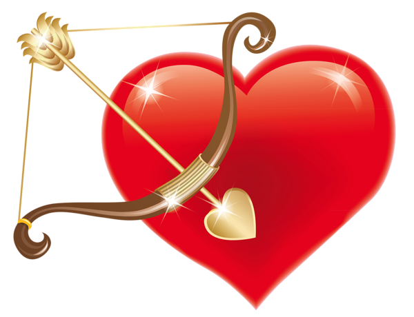 600x460 Red Heart With Cupid Bow Png Clipart Picture Love