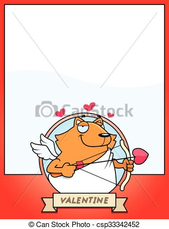 347x470 Cartoon Cat Cupid Graphic. A Cartoon Illustration Of A Cat