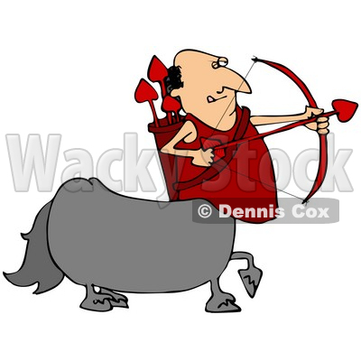 400x400 Clipart Illustration Of A Cupid Centaur Man Shooting Red Heart