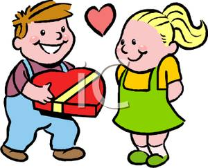300x243 A Young Boy Giving Chocolates To a Girl on Valentines Day Clipart