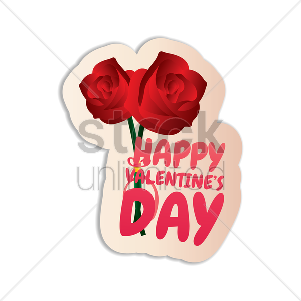 600x600 Happy Valentines Day Sticker With Roses Vector Image
