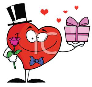 300x284 A Smiling Cartoon Heart With A Rose And A Present On Valentines