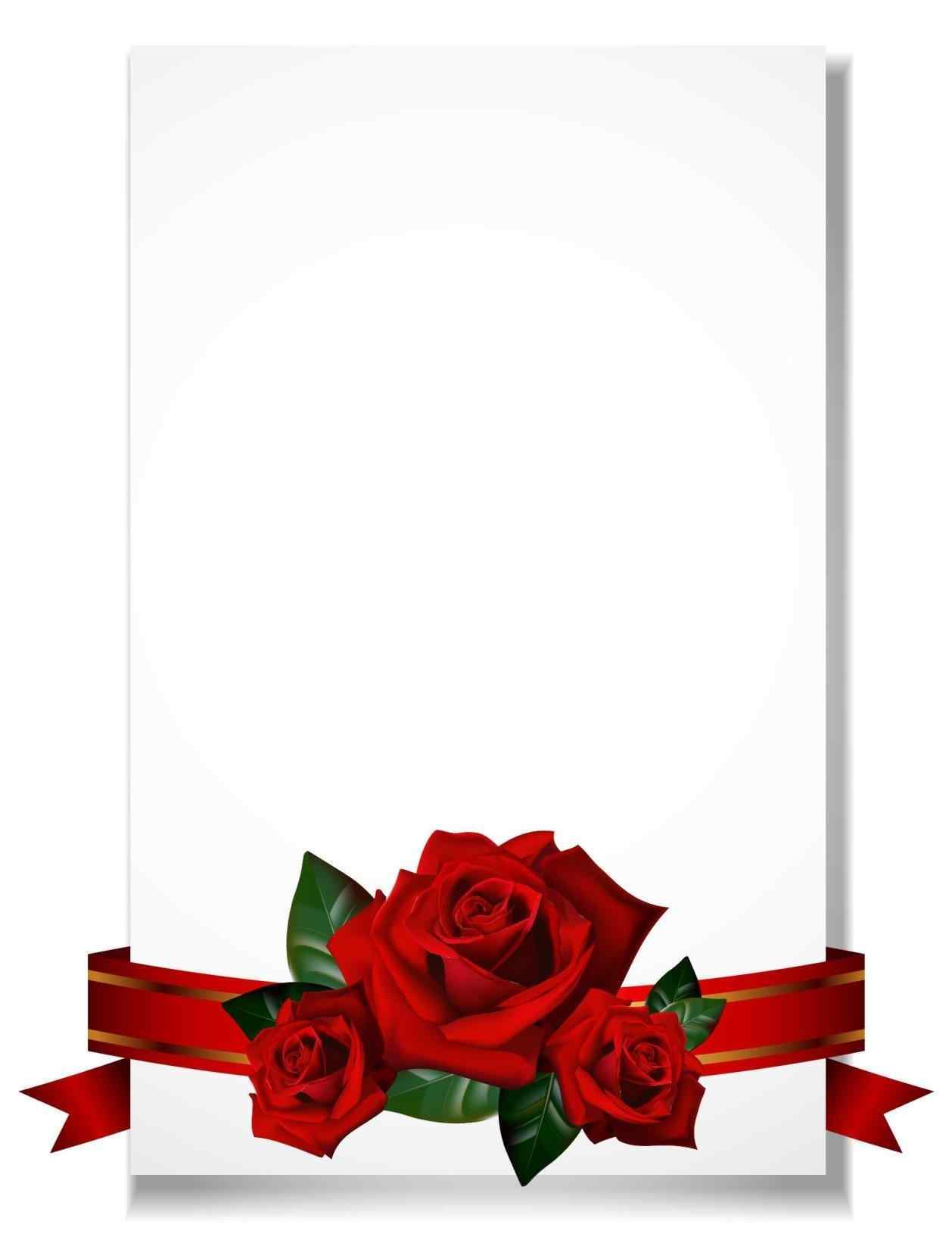 1258x1646 Rose Valentines Day Rose Borders Romantic Wedding Frame Background