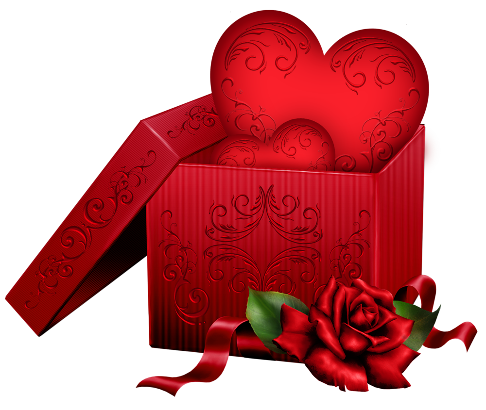 1000x845 Transparent Gift Box With Heart And Rose Png Clipart I