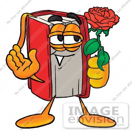450x450 Clip Art Graphic Of A Book Cartoon Character Holding A Red Rose