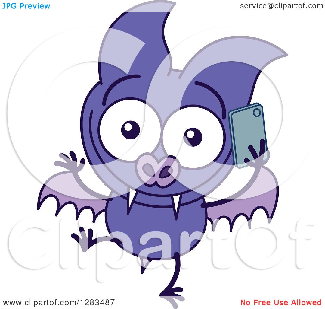1080x1024 Clipart Of A Happy Purple Vampire Bat Talking On A Cell Phone