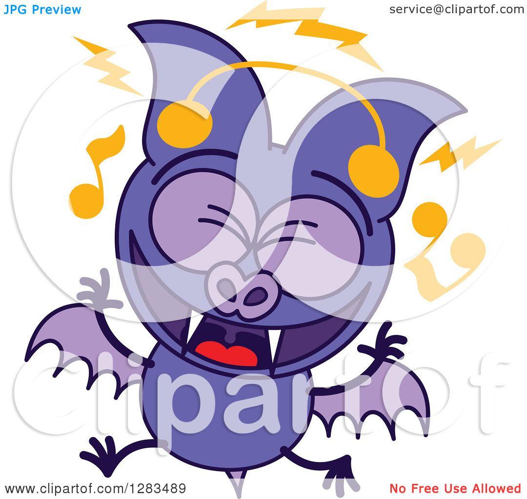 1080x1024 Clipart Of A Singing Purple Vampire Bat Wearing Music Headphones