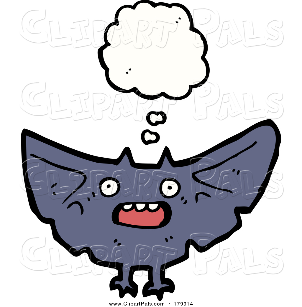 1024x1044 Pal Clipart Of A Thinking And Flying Vampire Bat By