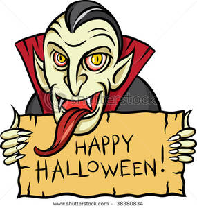 285x300 A Vampire With A Long Tongue Holding A Halloween Sign Clip Art Image