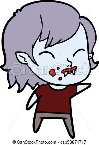 323x470 Cartoon Vampire Girl With Blood On Cheek Vector Clip Art