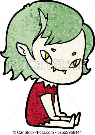 333x470 Cartoon Friendly Vampire Girl Sat Down Eps Vector