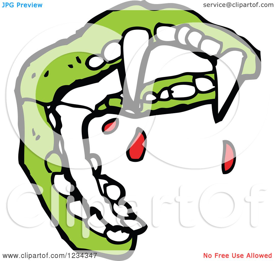 1080x1024 Clipart Of Green Vampire Teeth With Blood