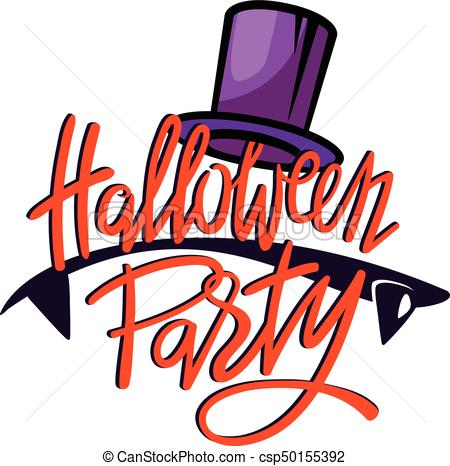450x466 Halloween Party Logo. Lettering With Vampire Teeth And Silk Hat.
