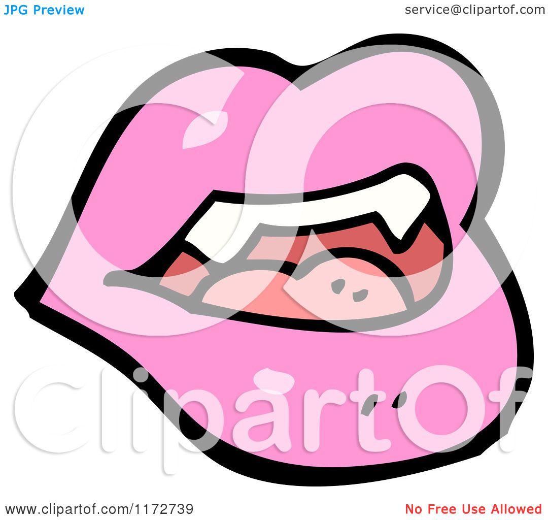 1080x1024 Cartoon Of A Pink Lips And Vampire Teeth