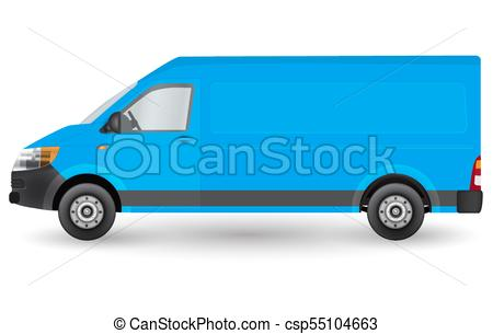 450x305 Blue Truck Template. Cargo Van Vector Illustration Eps 10 Clip