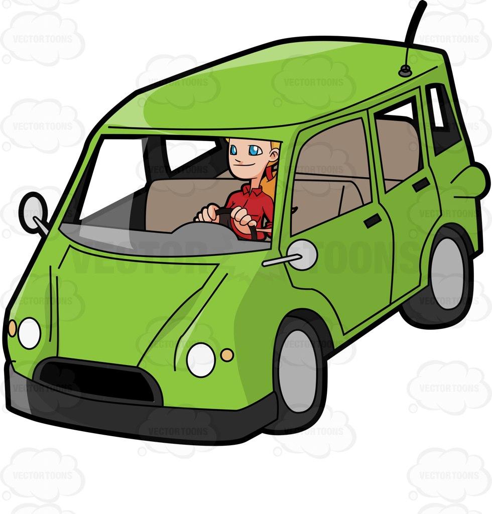 980x1024 A Woman Driving A Family Van Cartoon Clipart Vector Toons