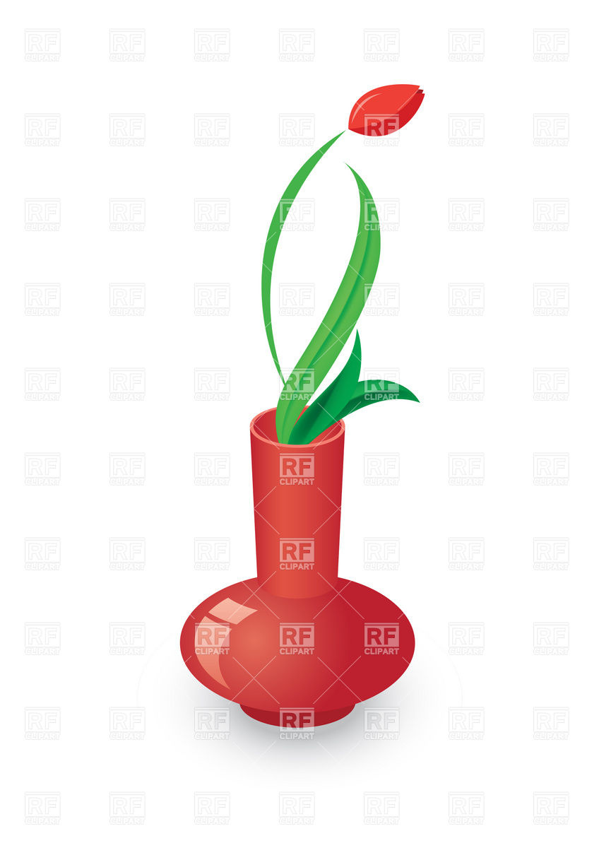 848x1200 Tulip In Red Vase Royalty Free Vector Clip Art Image