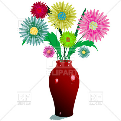 400x400 Bunch Of Flowers In Vase Royalty Free Vector Clip Art Image