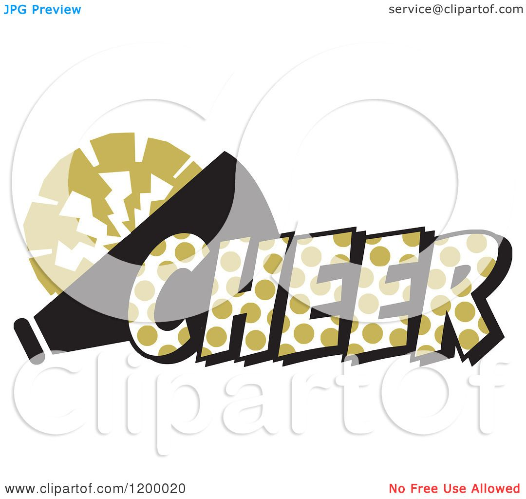 1080x1024 Clipart Of A Vegas Gold Polka Dot Cheer With A Bullhorn And Pom