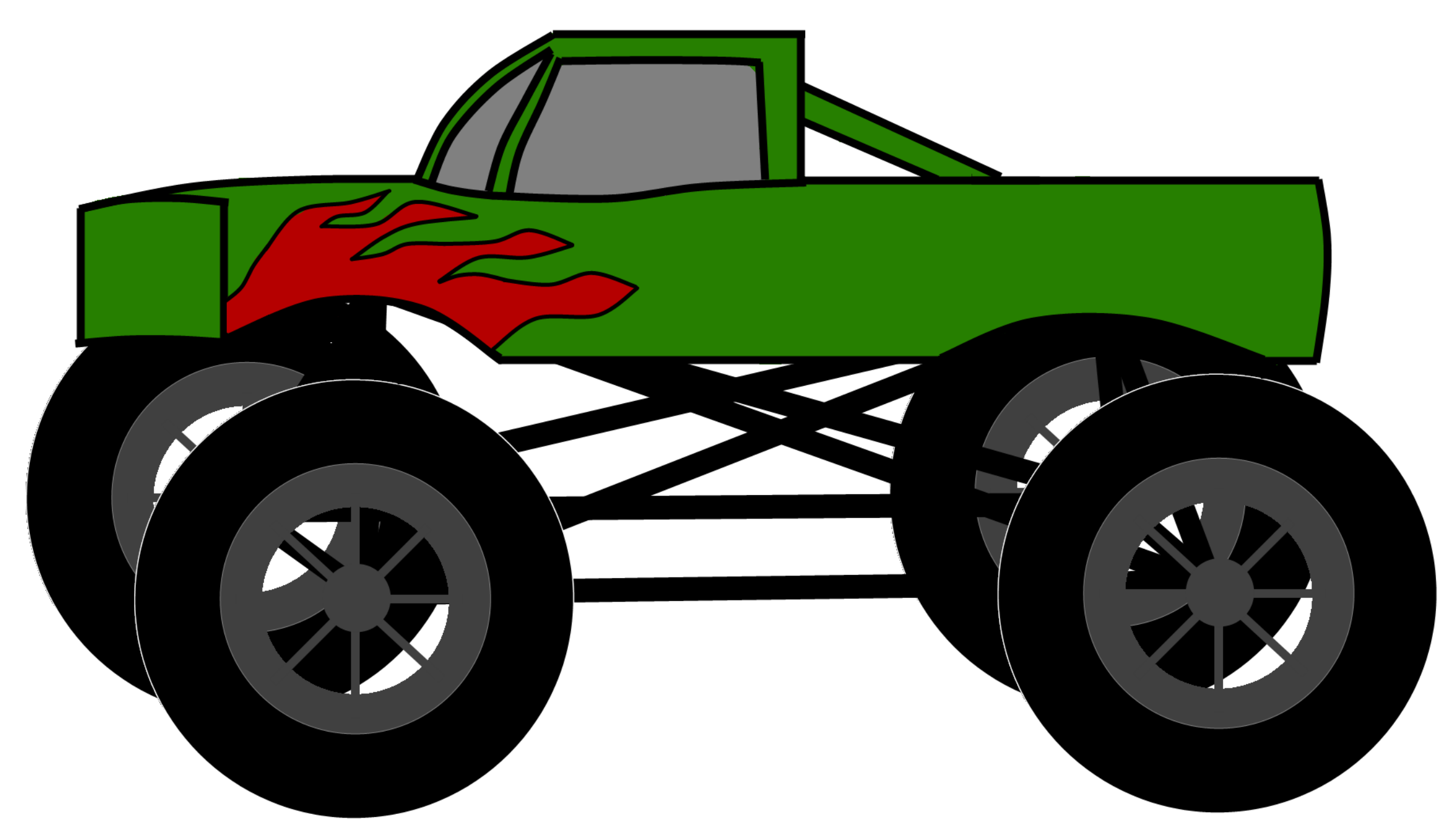 2400x1380 Monster Truck Clipart Black And White Free