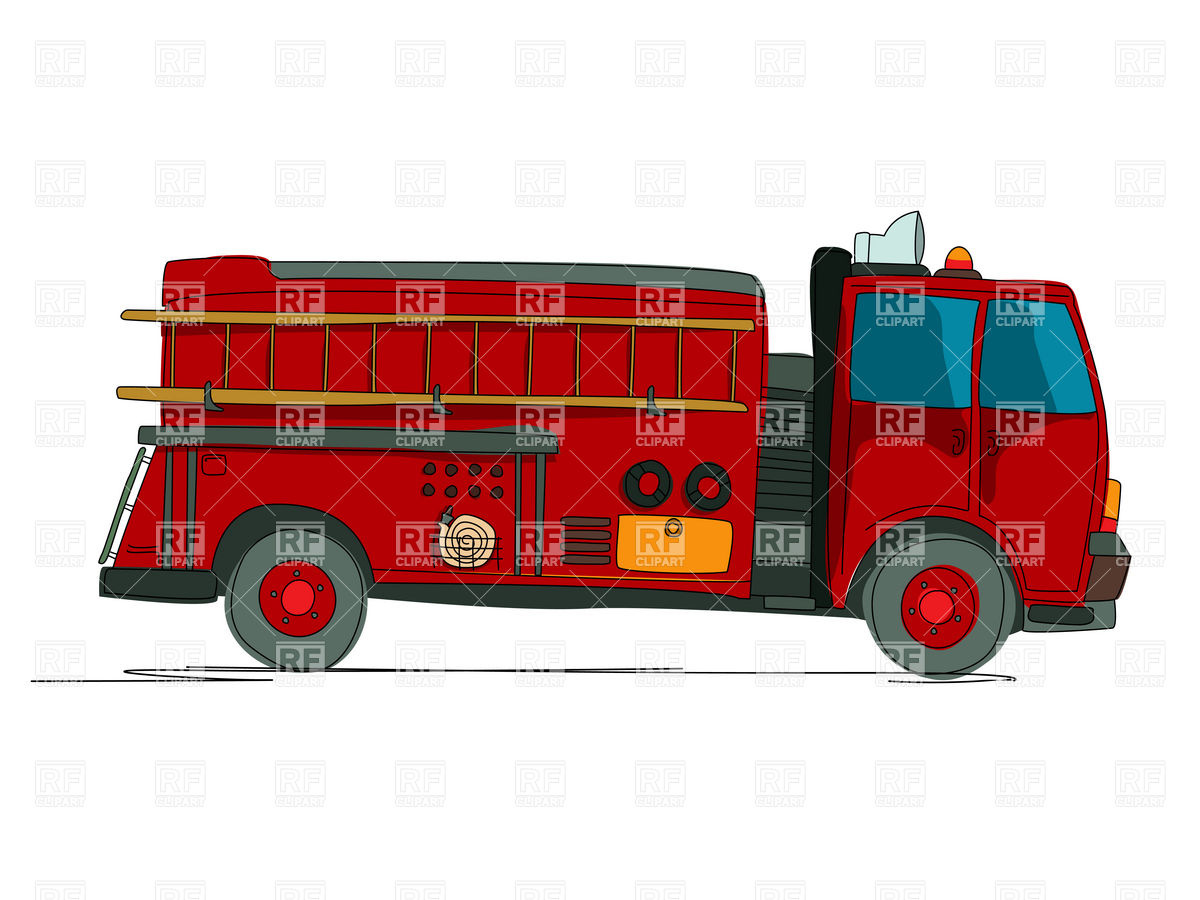 1200x900 Side View Of Fire Truck (Fire Fighting Vehicle) Cartoon Sketch
