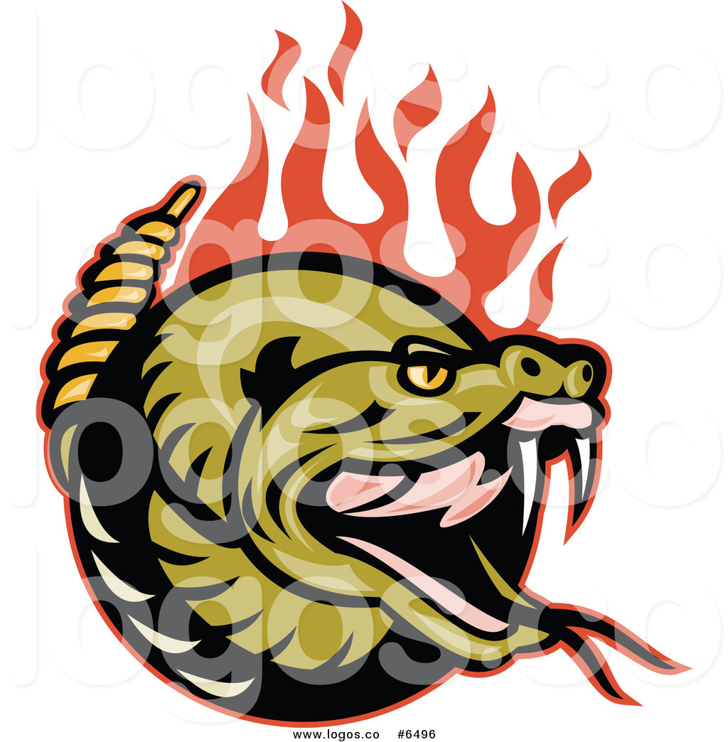 1024x1044 Royalty Free Clip Art Vector Logo Of A Rattlesnake With Red Flames