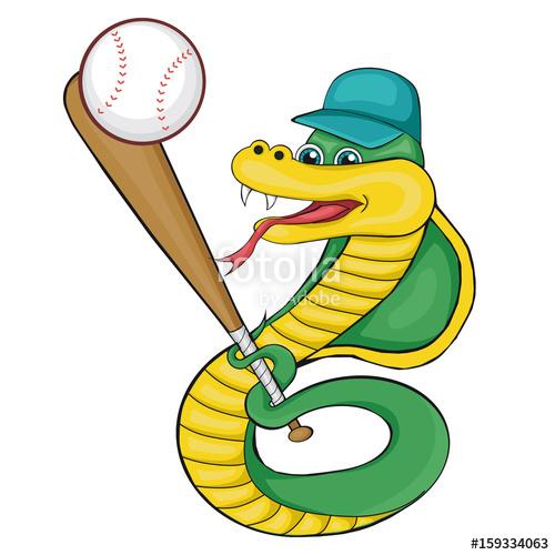 500x500 Snake Playing Baseball. Cartoon Style. Clip Art For Children